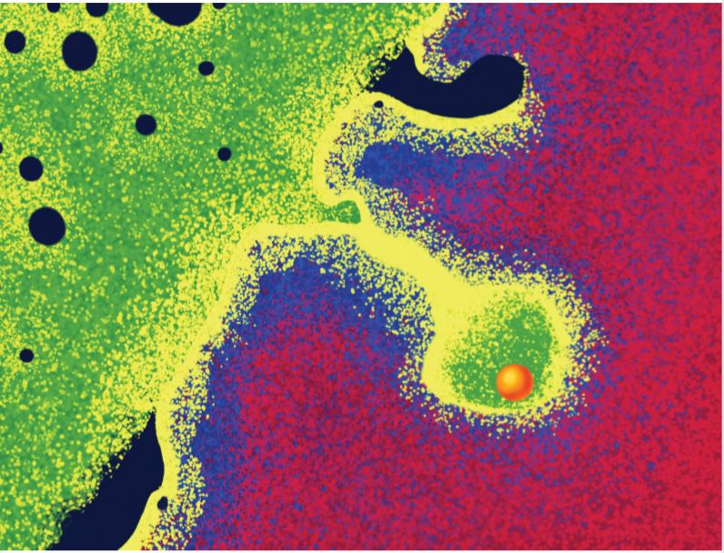 This graphical representation of actual images shows an NMP particle (orange) that has been propelled into the zirconium cladding (red). Immediately surrounding the particle are a high concentration of uranium (green), with a trail of uranium (yellow) present at lower concentrations. The graphic was created by PNNL's Rose Perry and appears on the cover of Physical Chemistry Chemical Physics.  See Jon M. Schwantes et al, pp 6086-6099. Image reproduced by permission of Battelle Memorial Institute from Phys. Chem. Chem. Phys., 2020. 22. 6086.